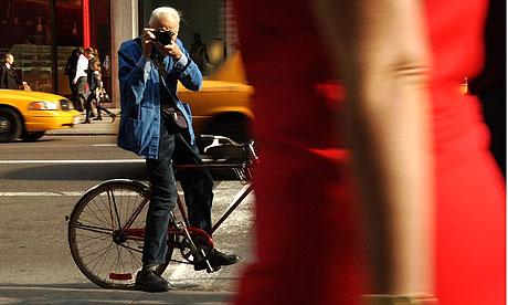 Bill Cunningham en su bicicleta.