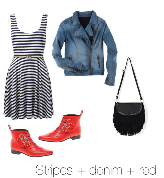 Striped dress trends red boots